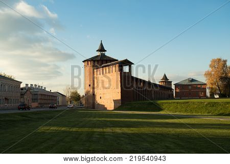 Kolomna Red Brick Kremlin Of Faceted Tower At Sunset Autumn In Kolomna Moscow Region.