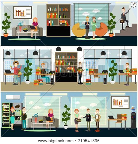 Vector set of business posters, banners. Business people working on office laptops, taking coffee break, meeting with partners. Office interior. Flat style design.