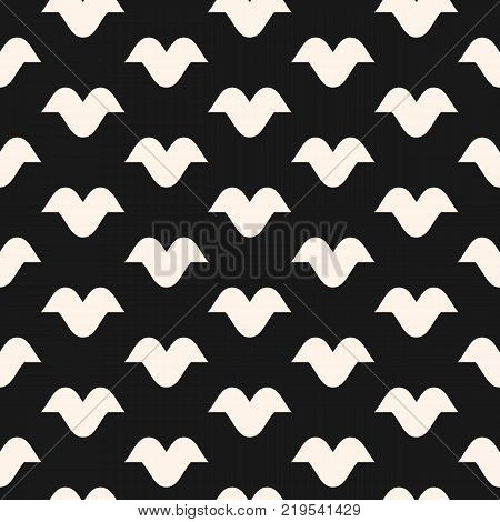 Funky vector seamless pattern with curved shapes, bird silhouettes. Abstract monochrome geometric texture. Modern hipster fashion style. Black and white geometric background. Dark repeat design. Bird background. Bird pattern. Bird texture.