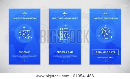 Onboarding design concept for plane ticket booking service. Modern vector outline mobile app design set of plane ticket booking services. Onboarding screens for plane tickets booking on-line