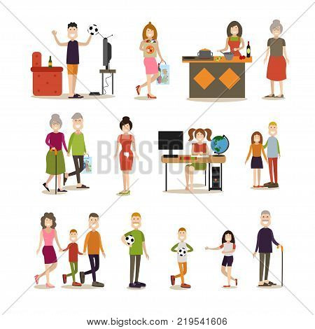 Vector illustration of happy family cartoon characters grandparents, parents and their kids. Family people symbols, icons isolated on white background. Flat style design.