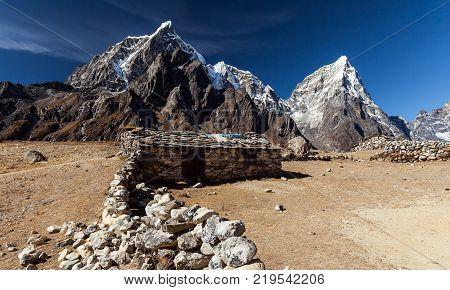 Nepal khumbu sagarmatha national park near dingboche.