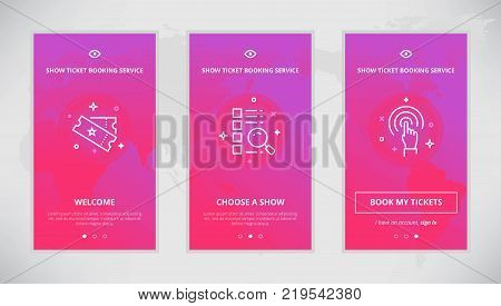 Onboarding design concept for show ticket booking service. Modern vector outline mobile app design set of show ticket booking services. Onboarding screens for show tickets booking online