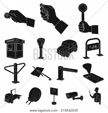 Parking for cars black icons in set collection for design. Equipment and service vector symbol stock  illustration.