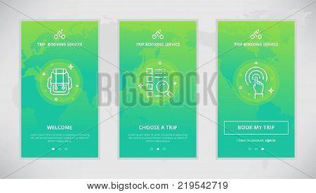 Onboarding design concept for trip booking service. Modern vector outline mobile app design set of trip booking services. Onboarding screens for trip booking online