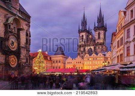 Prague, Czech Republic - December 23, 2014: Prague Christmas market on Old Town Square on 02.01.2014 in Prague