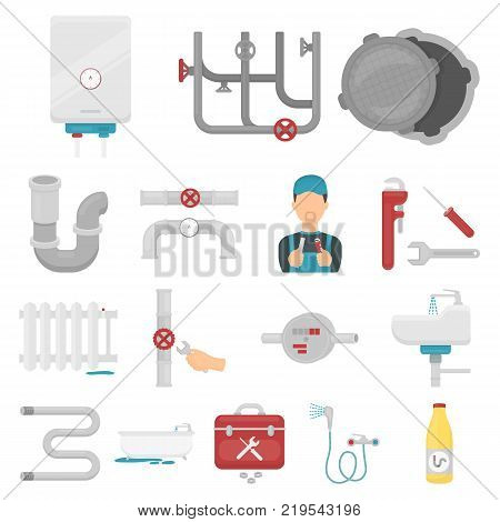 Plumbing, fitting cartoon icons in set collection for design. Equipment and tools vector symbol stock  illustration.