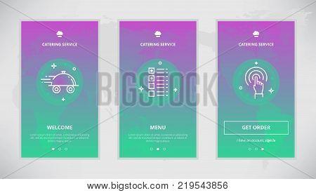 Onboarding design concept for catering service. Modern vector outline mobile app design set of a catering services. Onboarding screens for a catering order online