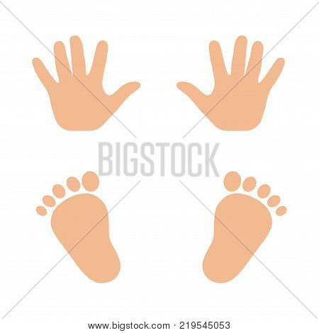 Vector illustration of a print of children's hands and feet