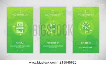 Onboarding design concept for an organic food delivery service. Modern vector outline mobile app design set of an organic food delivery services. Onboarding screens for an organic food delivery order online