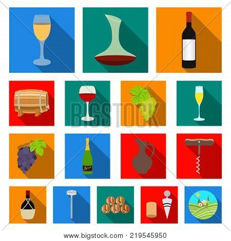 Wine products flat icons in set collection for design. Equipment and production of wine vector symbol stock  illustration.