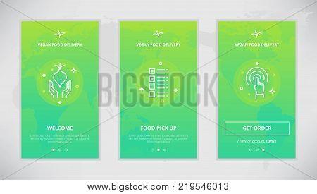 Onboarding design concept for a vegan food delivery service. Modern vector outline mobile app design set of a vegan food delivery services. Onboarding screens for a vegan food delivery order online