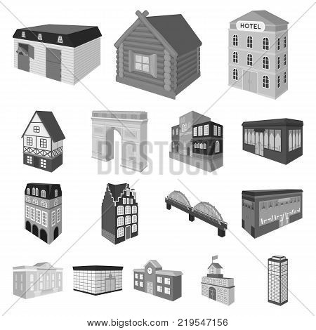Building and architecture monochrome icons in set collection for design.The building and dwelling vector isometric symbol stock  illustration.