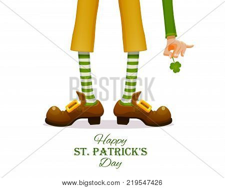 St.Patrick 's Day. Legs of a leprechaun and Patrick's hand with a shamrock clover. Humorous vector illustration for festive design.