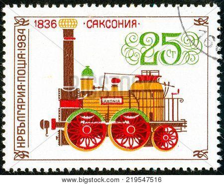 Ukraine - circa 2017: A postage stamp printed in Bulgaria shows drawing Locomotive Saxonia 1836. Series: Old steam locomotives. Circa 1984.