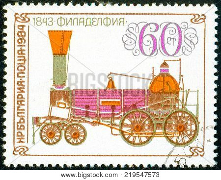 Ukraine - circa 2017: A postage stamp printed in Bulgaria shows drawing Locomotive Philadelphia 1843. Series: Old steam locomotives. Circa 1984.