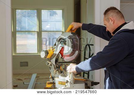 Circular Saw. Carpenter Man working circular saw Using Circular Saw for wood