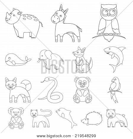 An unrealistic animal outline icons in set collection for design. Toy animals vector symbol stock illustration.