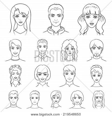 Avatar and face outline icons in set collection for design. A person's appearance vector symbol stock illustration.