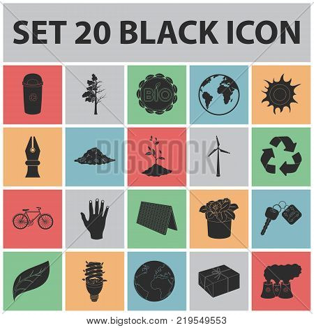 Bio and ecology black icons in set collection for design. An ecologically pure product vector symbol stock  illustration.