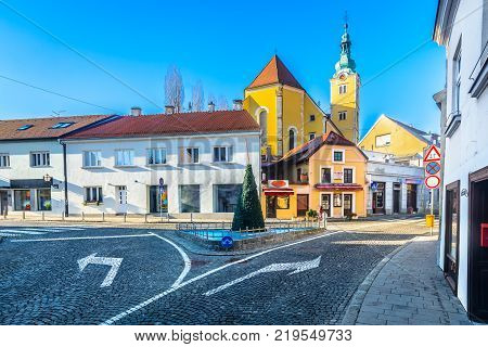 Scenic view at colorful medieval architecture in baroque town samobor, Northern Croatia.