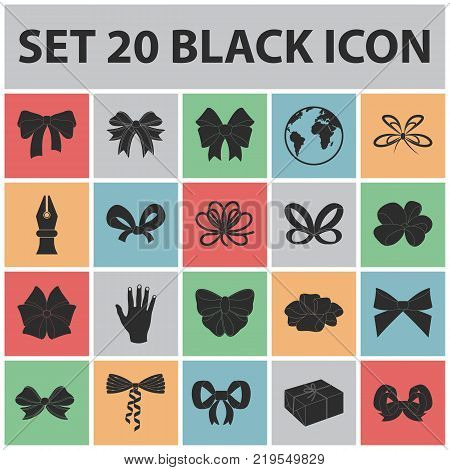 Multicolored bows black icons in set collection for design.Bow for decoration vector symbol stock  illustration.