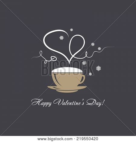 Happy Valentine's Day vector card with steaming heart over a cofee cup reminiscent drawing by chalk on Black board