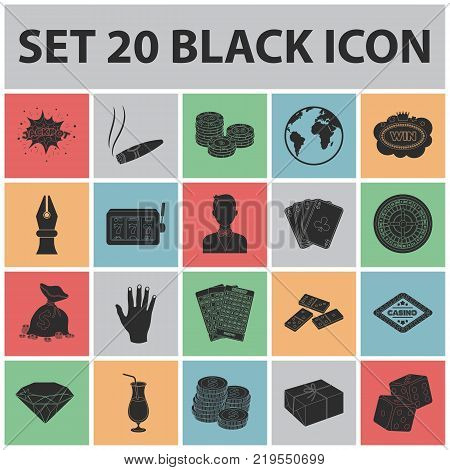 Casino and gambling black icons in set collection for design. Casino and equipment vector symbol stock  illustration.