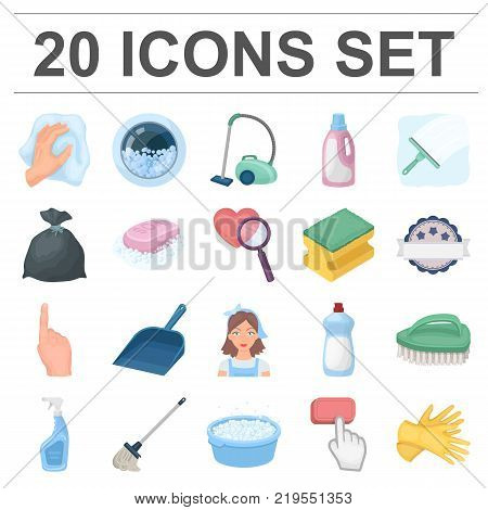Cleaning and maid cartoon icons in set collection for design. Equipment for cleaning vector symbol stock  illustration.