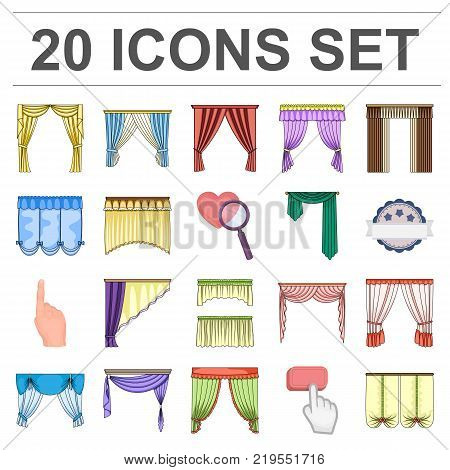 Different kinds of curtains cartoon icons in set collection for design. Curtains and lambrequins vector symbol stock  illustration.
