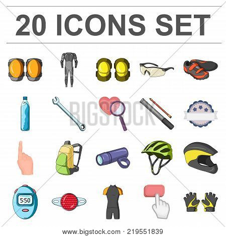 Bicycle outfit cartoon icons in set collection for design. Bicycle and tool vector symbol stock  illustration.