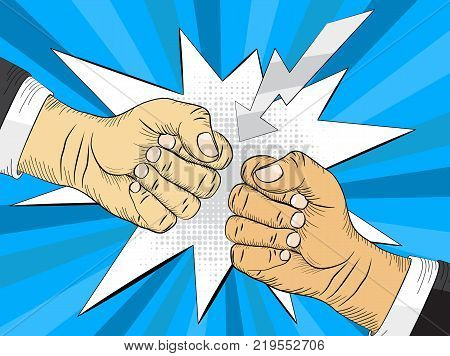 Two hands in air bumping together, punching label, fighting gesture, vector illustration