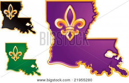 Louisiana state icons in purple, black, and green on white background