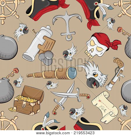 vector seamless pattern on the theme of pirate symbols brown background