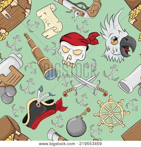 vector seamless pattern on the theme of pirate symbols green background