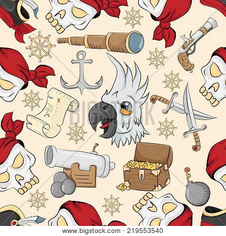 vector seamless pattern on the theme of pirate symbolism