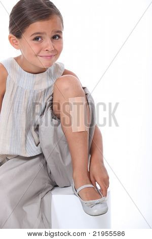little girl with dressing