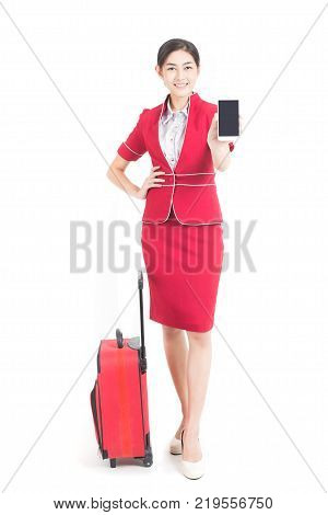 Portrait Of Asian Air Hostess Posing With Bag, Woman Stand And Smile At Isolated On White Background