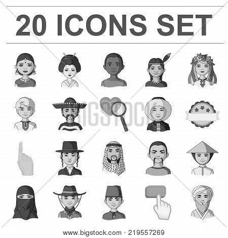 The human race monochrome icons in set collection for design. People and nationality vector symbol stock  illustration.