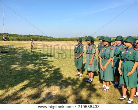 Girl scouts in Thailand Schoolpracticing on ground practicing with their teacher in Thai school. Hua Hin Thailand December 20 2017