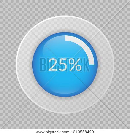 25 percent pie chart on transparent background. Percentage vector infographics. Circle diagram isolated. Business illustration icon for marketing presentation project data report web concept design