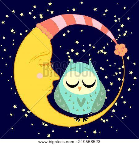 cute cartoon sleeping owl sits on a drowsy crescent moon among the stars