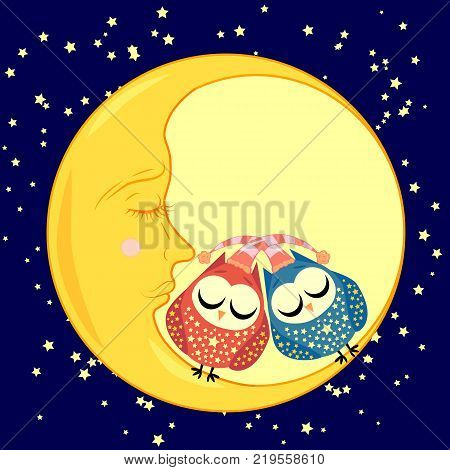 cute cartoon sleeping owls iwith closed eyes sits on a drowsy crescent moon among the stars