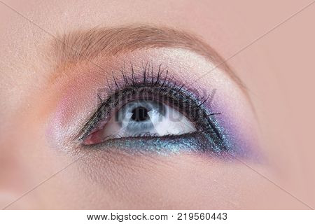 Blue Eye, Pink Colorful Make-up Close-up, Macro Beautiful Women's Eye With Perfect Shape Eyebrows. C