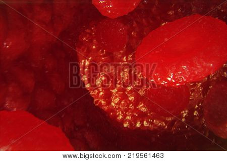 Red blood cells in vein or artery, flow inside inside a living organism 3d illustration