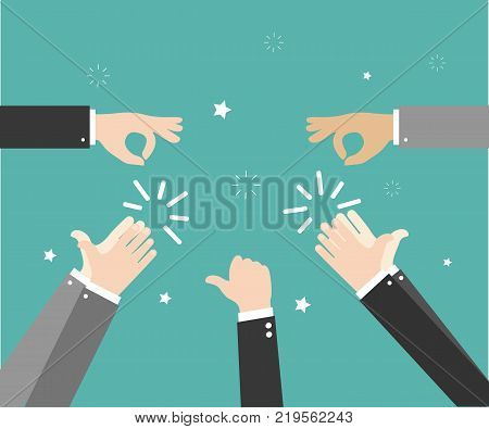 Human hands clapping. Applaud hands. Hand gestures - OK, Super, Thumb. Vector illustration on green background