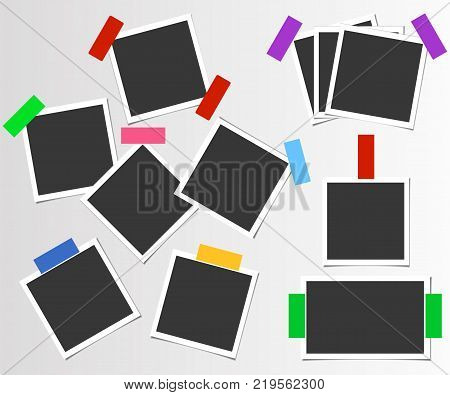 Set of photo frame with color adhesive tape. Vector template for your trendy photo or image