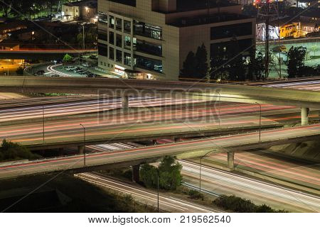 Night traffic at the Ventura 134 and Glendale 2 freeway interchange in Los Angeles, California.