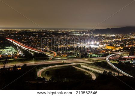 Night view of the Ventura 134 and 2 Glendale freeways in the Eagle Rock neighborhood of Los Angeles, California.
