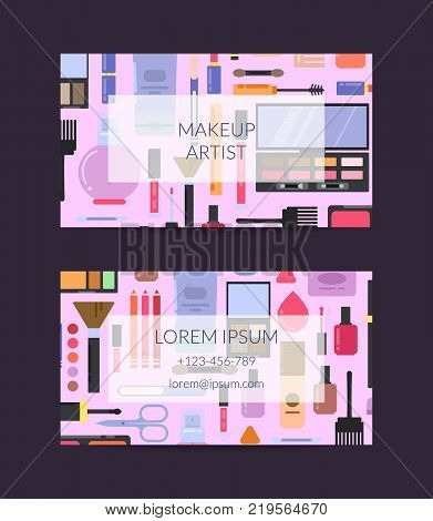 Vector business card template for beauty brand or makeup artist with flat style makeup and skincare. Card artist identity for beauty salon illustration